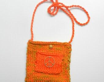 Neon Orange Hand Knit Shoulder Bag Purse - Peace Sign