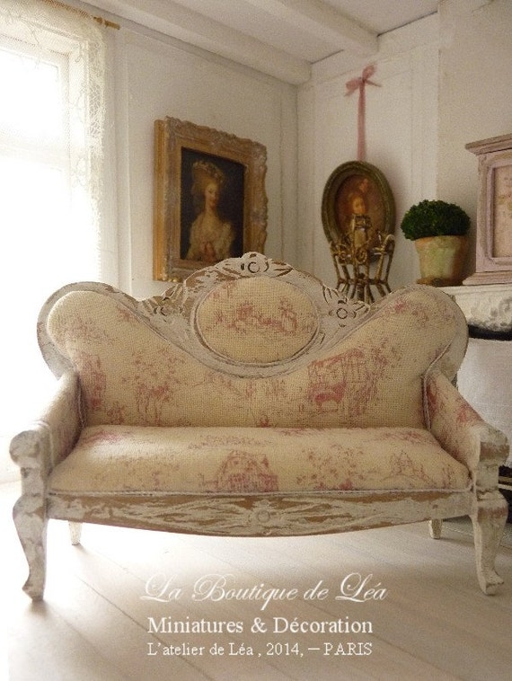 Reserved Napoleon Iii Sofa French Toile De Jouy Red