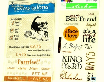 Dog & Cat Stickers, Scrapbooking, Canvas, Clear, Paper Crafts, Card Making, Supply Destash