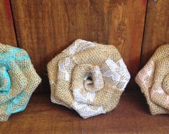 Lace and Burlap Roses/ Multiple Colors Available