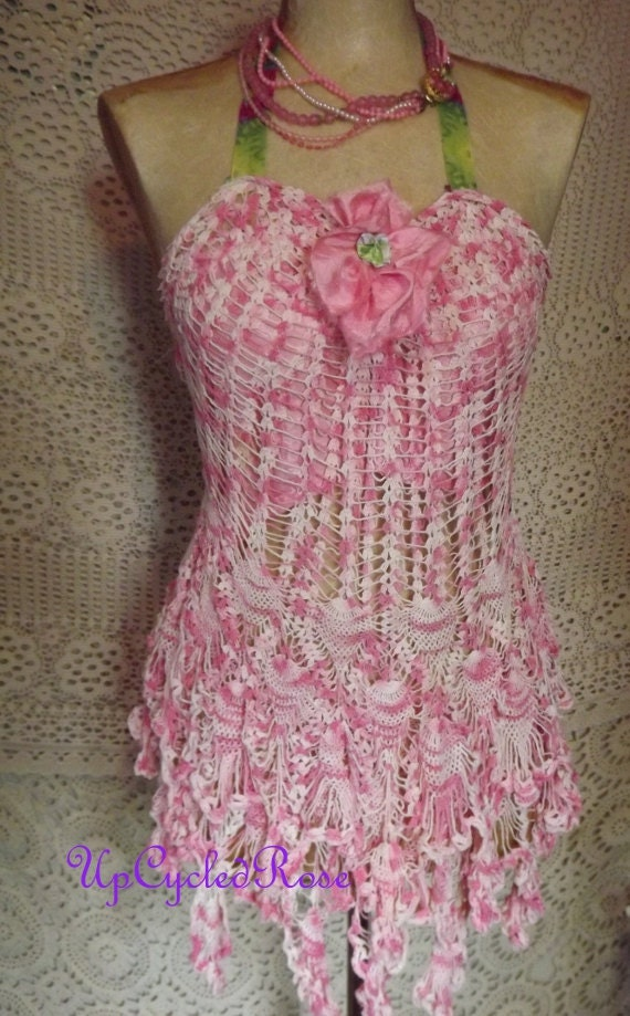 Pretty In Pink Up-cycled Crochet Lace Up Halter Top Tunic Shabby Couture Wearable Art