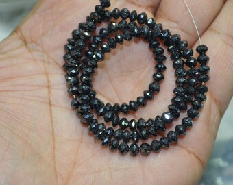 AA Quality Black Diamond Faceted, 16 inch Strand , 4-4.5 mm .