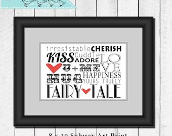 8 x 10 Love Subway Art Print, Subway art print, Wall art, Typography print, Kiss Love Happiness, Instant download, Home decor, Black...