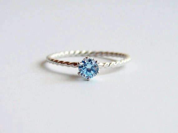 Small Aquamarine Ring. Made to Order. Small Solitaire Gemstone