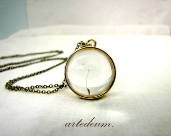 Dandelion Necklace Glass Locket Sphere Antique Gold Brass Dandelion Pendant Beveled Glass Ball - Your wish come true Gift for her