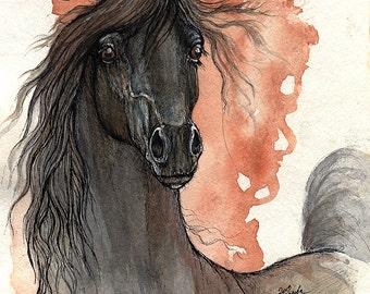 Black arabian horse original pen and watercolor painting