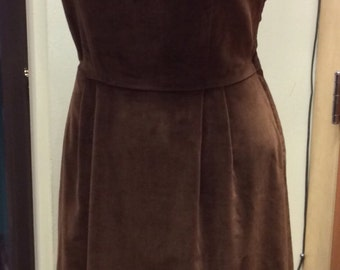 50's Henry Rosenfeld Deep Chocolate Brown Velvet Shift Dress, Size 12. Very Mad Men