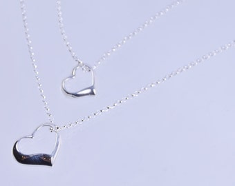 Mother daughter open heart necklace set, Mother and Daughter Heart necklace set