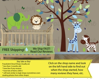 New Children's Nursery Decals, Safari Wall Decals, Elephant, Lion, Monkey (SG Full Size Animal/Tree  GreenEnvy) SGF