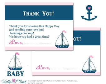 Girl Nautical Thank you Card Printable for Baby Girl Shower or Birthday DIY Navy pink , Anchor ship - ao41bsp22