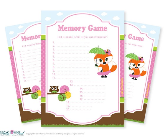 owl memory game for baby shower printable card for baby fox owl shower