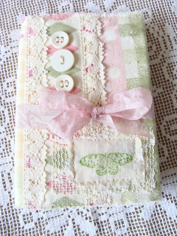 Removable Fabric Book Cover ~ Shabby fabric and lace composition notebook cover removable