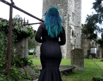 Malice - floor length fishtail skirt with spiderweb lace godets