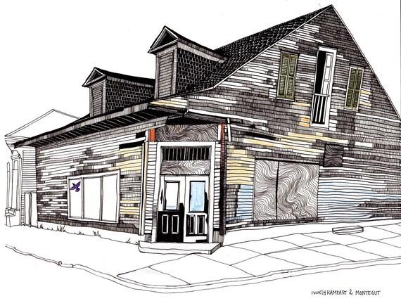 tirage d 39 art de nouvelle orl ans maison cr ole en bois par foxcomet. Black Bedroom Furniture Sets. Home Design Ideas