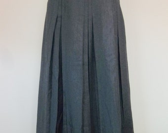 Vintage 70's wool slate grey pleated skirt, XS, small