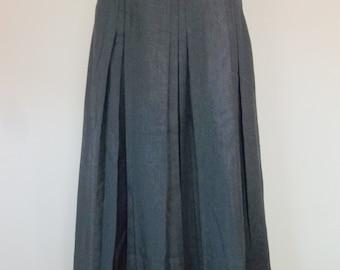 Vintage 70's wool slate grey pleated skirt, XS, small