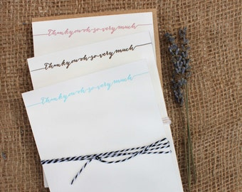 Letterpress Thank you card set, thank you flat cards with messy calligraphy