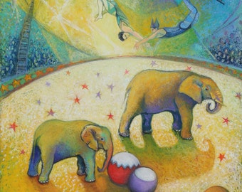 Circus Elephants and Trapeze Artists   Archival Giclee Print