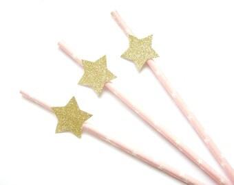 Pale Pink & Gold Glitter Star Paper Straws - star straws, twinkle twinkle straws, twinkle twinkle decorations, star birthday, star party
