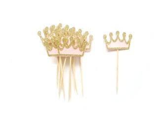 Gold & Pink Tiara Cupcake Toppers  -  Crown Cupcake Toppers, Birthday Cupcake Topper, Wedding Cupcake Topper, First Birthday Cupcake Toppers