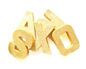 Custom Gold Glitter Letters - Glitter Letters, Custom Ornament Letters,  Wedding decor, Freestanding Numbers, Paper Mache Letters