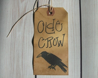 Rustic Hang tag Farmhouse Black Crow Gift tag Primitive Craft Supply Olde Crow set 25 Tags
