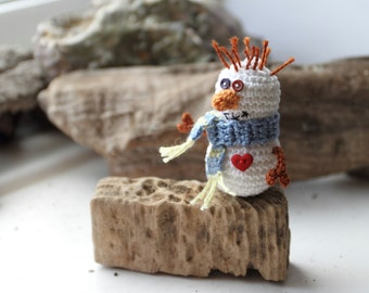 Christmas Snowman holiday home decor, white, blue scarf, red heart, new year ornament, crochet miniature art doll.