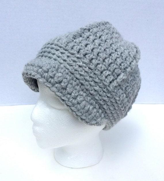 Womens Newsboy Hat Crochet Beanie Hat with Brim Fall by ...