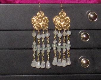 Vintage Brass Moonstone Chandelier Earrings.