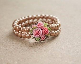 beige polymer clay rose bracelet, flowers bracelet, vintage bracelet , jewelry , bronze