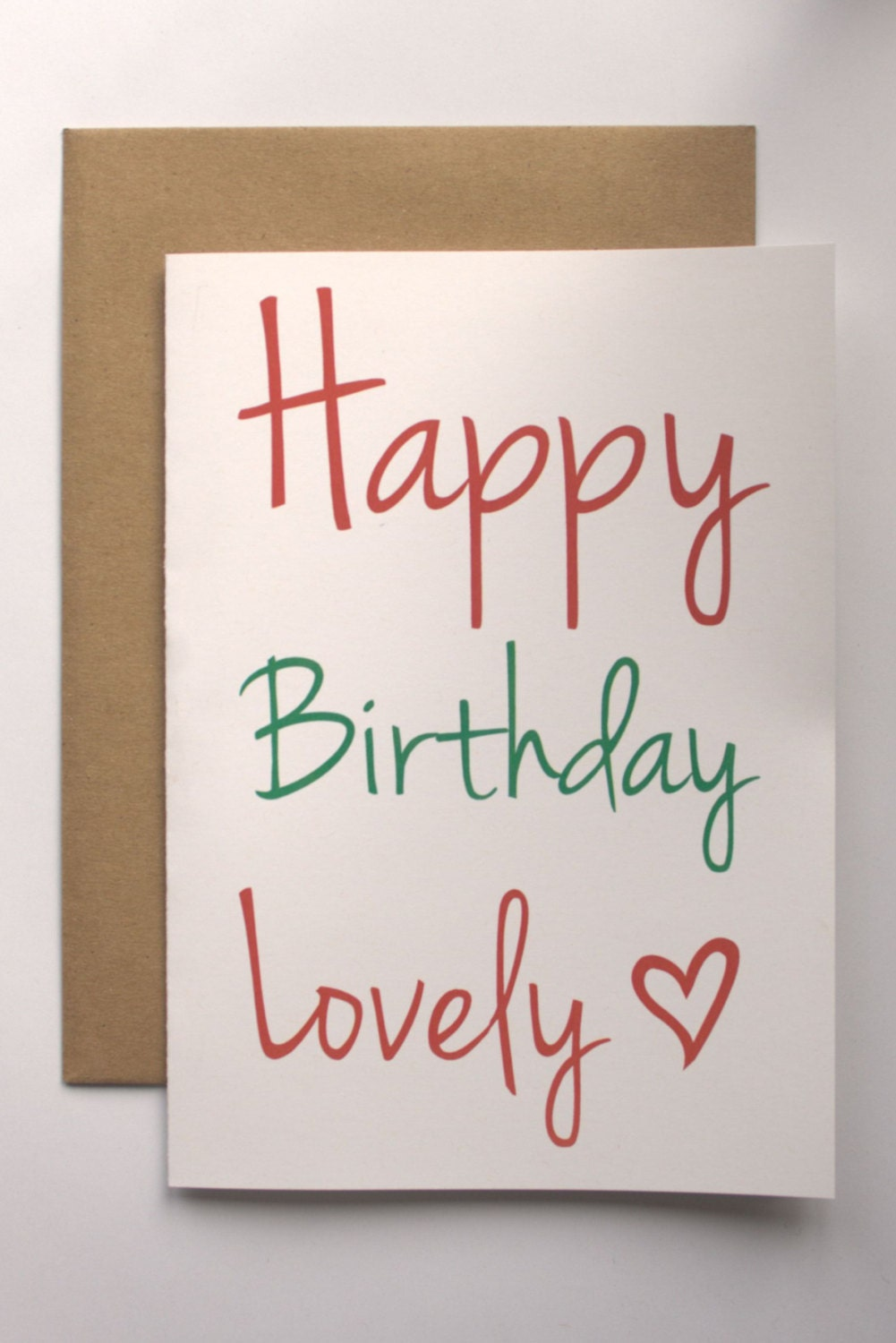 Recycled card happy birthday lovely eco friendly greeting card recycled card happy birthday lovely eco friendly greeting card recycled paper brown kraft envelope red hot pink green script blank inside kristyandbryce Images