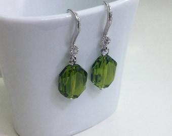 Olivevine Green Swarovski Crystal Silver Earring, Japan Rhodium Classy Dainty Earring, Drop Earring, Bridesmaid Gift E31