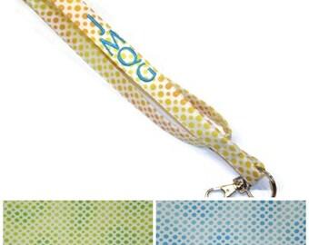 Personalized dots lanyard - Choose your COLORS, monogrammed lanyard, polka dots lanyard, ID badge lanyard, teacher lanyard, under 10 gift