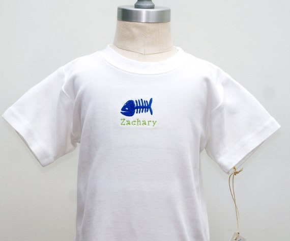 Fish bone embroidered shirt customizable name by for Embroidered fishing shirts