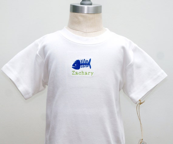 Fish bone embroidered shirt customizable name by