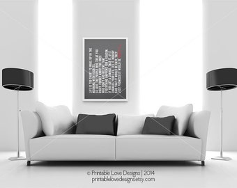 Life is too short || typography art print, grey home decor , life quote, inspirational print, black and white, red and grey, inspiring
