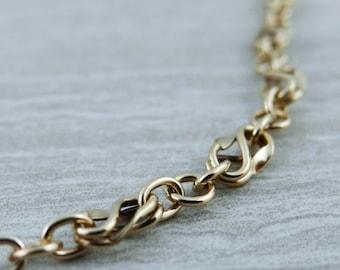 Infinity Link Symbol, 14k Gold Link Bracelet, Vintage 5V36TF-P