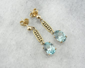 Blue Zircon With Antique Gold Drop Earrings 29383P-N