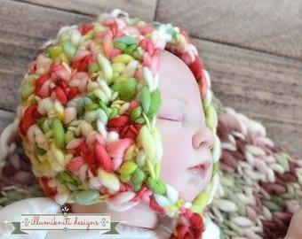 Instant Download - Handspun Newborn Bonnet - Crochet Pattern