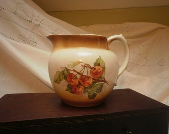 Vintage Smith Phillips Semi Porcelain Pitcher Cherries Decals on both Sides