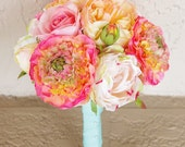 Bouquet of Silk Peonies and Ranunculus Coral Peach Natural Touch Flower Wedding Bride Bouquet - Almost Fresh