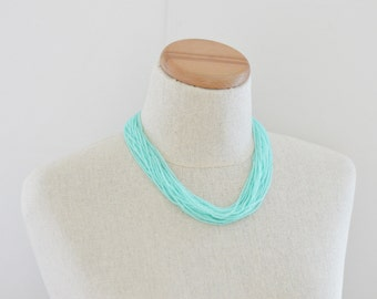 Mint necklace, aqua necklace, light green necklace, light teal, statement necklace, boho, multistrand, beaded necklace, chunky aqua necklace