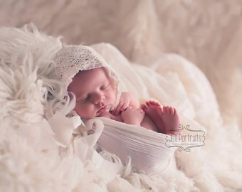 Newborn Baby Girl Bonnet Vintage Lace Newborn Props Baby Bonnet Shabby Chic Fabric Bonnet Photography Prop Infant Cream White Bonnet