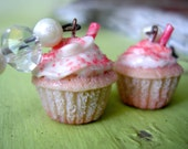 Candy Cane Cupcake Earrings.. With Vanilla Frosting and Red Sugar Sprinkles :)