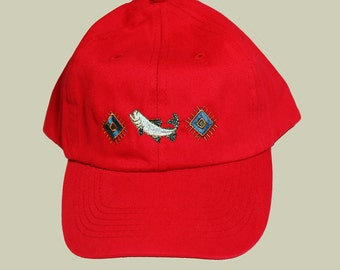 Fishing Cap, Salmon Embroidery on Fishing Cap,  A Baseball Cap Embroidered with a salmon