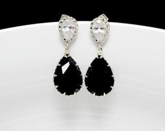 black bridal earrings , black swarovski earrings , monochrome earrings , black and white earrings , bridesmaids earrings , black earrings