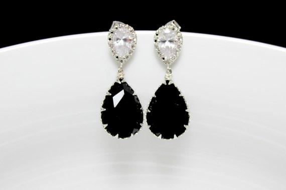 black bridal earrings black swarovski earrings monochrome