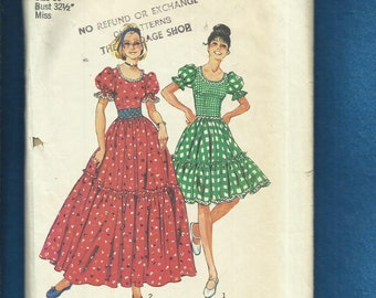 1974 Simplicity 6452 Fitted Bodice Puff Sleeve Ruffle Tier Western Swing Dress Size 10 UNCUT
