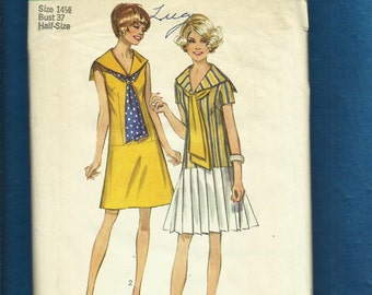 Vintage 1970  Simplicity 8703 Modern Flapper Dress from the 70's Size 14.5