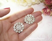 6 Large Rhinestone Button Embellishment Metal Flatback  Pearl Crystal Hair Comb Clip Brooch Bouquet Jewelry Supplies